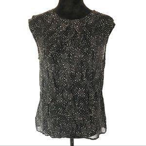 Ann Taylor black & white sleeveless silk blouse